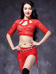 Tenue(Noire / D'Orange / Gris clair / Rouge claire,Dentelle,Danse du ventre)Danse du ventre- pourFemme Dentelle Spectacle Danse du ventre