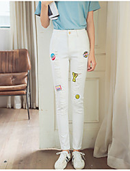 Women's Embroidered White Jeans / Skinny Pants,Simple