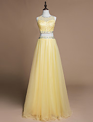 Formal Evening Dress A-line Jewel Floor-length Tulle with Beading
