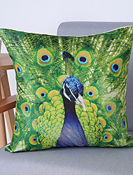 Hot Models Linen Pillow Hand-Painted Peacock Feather Pattern Pillow Cover Cushion Cover Printing
