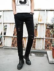 Men's Solid Casual Suits,Cotton Black