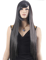 Hot Models in Europe and America Carved High-quality Synthetic Black Long Straight Hair Wig