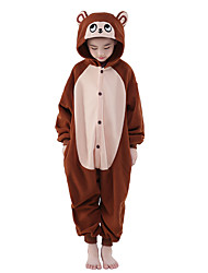 Kigurumi Pajamas Leotard/Onesie Festival/Holiday Animal Sleepwear Halloween Brown Solid Polar Fleece Kigurumi For KidHalloween Christmas