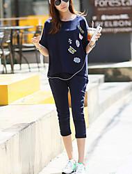 Set Femme,Imprimé Sortie Décontracté / Quotidien Grandes Tailles simple Eté Manches ¾ Col Arrondi Bleu Coton Fin