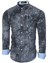 Men's Casual/Daily Simple Spring / Fall ShirtPrint Shirt Collar Long Sleeve Blue / Gray Cotton Medium
