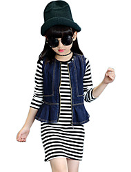 Girl's Cotton Spring/Autumn Casual Vest Cowboy Jacket Denim Coat And Stripes Long Sleeve Skirt Two-piece Set