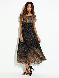 Mulheres Vestido Plus Sizes / Vintage / Festa / Praia / Fofo Maxi Chifon