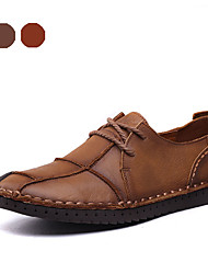 Sapatos Masculinos Oxfords Marrom / Khaki Napa Leather Casual / Festas & Noite