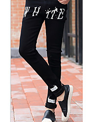 Masculino Jeans Casual Letra Algodão Preto