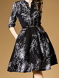 Women's Formal Simple A Line Dress,Print Shirt Collar Above Knee ½ Length Sleeve Black Others Summer