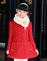 Girl's Casual/Daily Solid Trench Coat,Cotton Winter Pink / Red