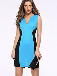 Women's Plus Size / Casual/Daily Street chic Bodycon Fashion Pencil Dress,Color Block V Neck Above Knee Sleeveless