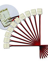 kwb-10mm 10pcs 2PIN conduit connecteurs de bande pour 5050 couleur unique led