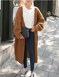 Long Cardigan Femme Décontracté / Quotidien Chic de Rue,Couleur Pleine Multi-couleur Col en V Manches Longues Acrylique Hiver Moyen