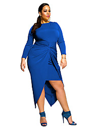 Women's Plus Size / Formal / Party Sexy / Street chic Sheath Dress,Solid Crew Neck Asymmetrical Long Sleeve
