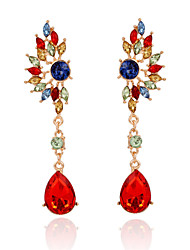 New Arrival 2016 Gold Plated Colorful Crystal Long Earrings Fashion Charm Gem Water Drop Earrings Women Jewelry