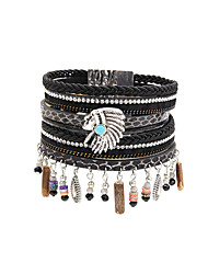 Fashion Women Multi Rows Beauty Head Charm Leather Bracelet
