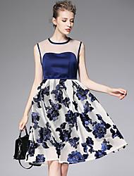 AFOLD® Women's Round Neck Sleeveless Knee-length Dress-A6069