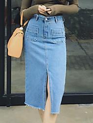 Jupes Aux femmes Midi simple Coton Non Elastique
