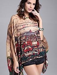 # Damen Rundhalsausschnitt 1/2 Länge Ärmel Shirt & Bluse Braun-023