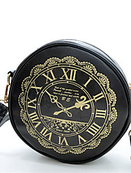 Women PU Casual Clock National Wind Printing  Shopping Shoulder  Key Holder Mobile Phone Bag