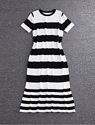 Boutique S Going out /Daily Cute Sheath DressStriped Round Neck Midi Short Sleeve Black Cotton