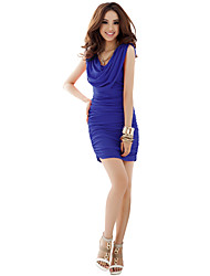 JoanneKitten® Women's Sexy / Cute Solid Bodycon Dress, Boat Neck Above Knee Polyester / Spandex