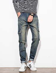 Men's Slim Retro Style Multi Pocket Bleached Jeans,Cotton / Polyester Blue