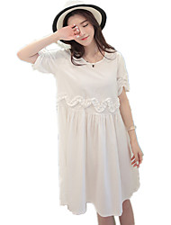 Maternity Round Neck Peplum / Ruched Solid Short Sleeve Dress