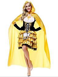 Costumes Déguisements de princesse / Plus de costumes Noël / Carnaval / Nouvel an Noir/jaune Couleur Pleine Térylène Robe / Chapeau