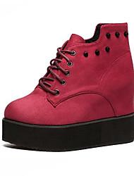 Красный-Женский-Для прогулок-Дерматин-На плоской подошве-Ботинки-Ботинки