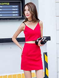 Women's Casual/Daily Simple Two Piece Dress,Solid / Floral Strap Above Knee Sleeveless Red Cotton Summer