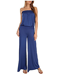 Women's Solid Street chic Strapless Sleeveless Jumpsuits/Wide Leg Pants