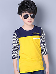 Boy's Round Collar / Neck Color Block Striped Stitching Patched Casual Long Sleeve Cotton Tee