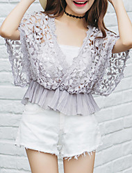 Damen Solide Einfach Ausgehen / Lässig/Alltäglich T-shirt,Tiefes V Sommer Kurzarm Weiß / Grau Nylon Dünn