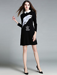MISS FRENCH  Going out /Daily /Sexy /Cute Sheath Dress,Letter Shirt Collar Knee-length ¾ Sleeve White / BlackCotton