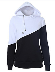 Casual/Daily Street chic Regular Hoodies,Solid / Color Block Black Hooded Long Sleeve Cotton Spring / Fall Medium