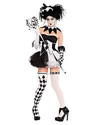 Costumes de Cosplay Costume de Soirée Esprit Zombie Vampire Fête / Célébration Déguisement d'Halloween Blanc Noir RétroRobe Gants Collier
