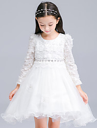 Ball Gown Asymmetrical Flower Girl Dress - Cotton / Satin / Tulle Long Sleeve Jewel with Crystal Detailing / Embroidery