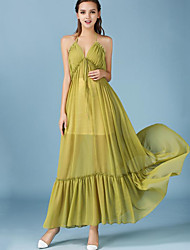 Women's Beach Boho Loose Dress,Solid Strap Maxi Sleeveless Green Polyester Summer