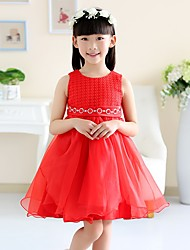 A-line Knee-length Flower Girl Dress - Cotton / Organza / Satin Sleeveless Jewel with Embroidery / Sash / Ribbon