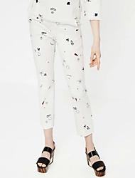 Women's Print White Loose PantsStreet chic