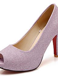 Feminino-Sandálias-Peep Toe / Plataforma / Bico Aberto-Salto Agulha-Rosa / Prateado / Dourado-Gliter-Casamento / Social / Festas & Noite