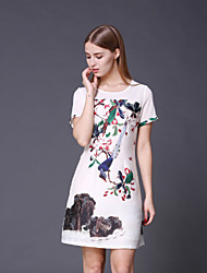 STEPHANIE  Women's Going out Chinoiserie Loose DressFloral Round Neck Above Knee Short Sleeve White