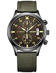 MEGIR® Men's Green Fabric Band Black Case 30M Water Resistant Dress Watch(Include Package) Fashion Wrist Watch Cool Watch