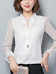 Mulheres Blusa Casual / Trabalho Moda de Rua Primavera / Outono,Bordado Branco / Preto Poliéster Colarinho Chinês Manga Longa Média