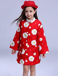 Girl's Going out Floral Dress / Suit & Blazer,Cotton Winter / Spring / Fall Red