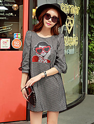 Women's Going out / Casual/Daily / Work Vintage / Street chic / Sophisticated A Line Dress,Striped / Print Round Neck