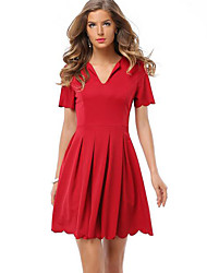 Women's Casual/Daily Simple Pleated Party Fashion Sheath Dress,Solid V Neck Above Knee Short Sleeve