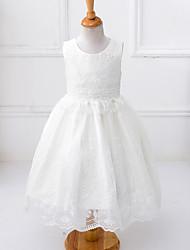 A-line Tea-length Flower Girl Dress - Satin / Tulle / Polyester Sleeveless Jewel with Embroidery / Sash / Ribbon